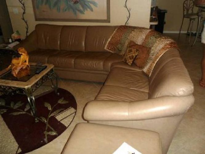 $1,500 Tan leather couch, chair and ottoman