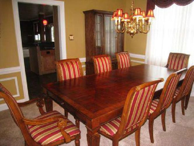 1 800 ethan allen dining room table with 8 chairs and hutch for sale