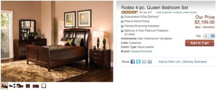 $1,898 5 Pc. Bedroom Set Raymour U0026 Flanigan Rodea Collection In Espresso