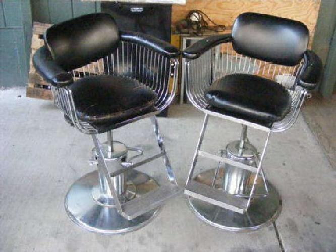 200 2 takara salon barber chairs 1970s black and chrome w spoke
