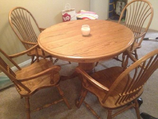 $200 Circle Oak Kitchen Table and Chairs for sale in