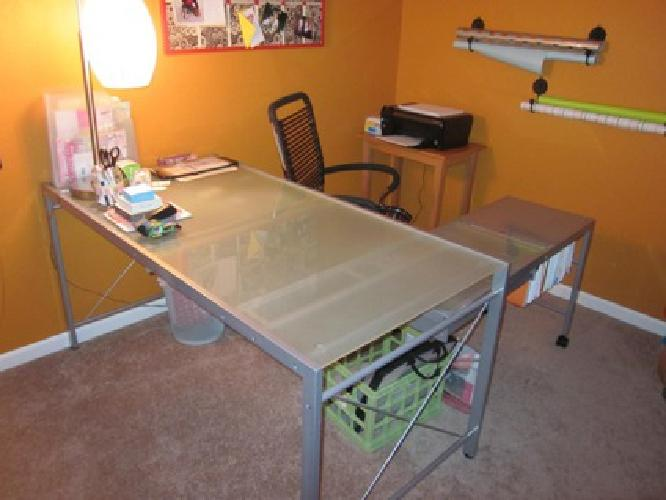 $200 EQ3 Metal And Frosted Glass Modern Artist Desk, Like New