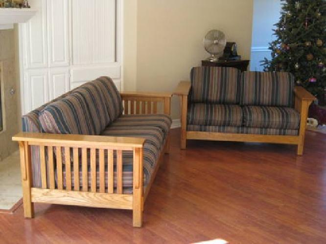 200 Flexsteel Mission Style Sofa And Loveseat Two Piece Set For