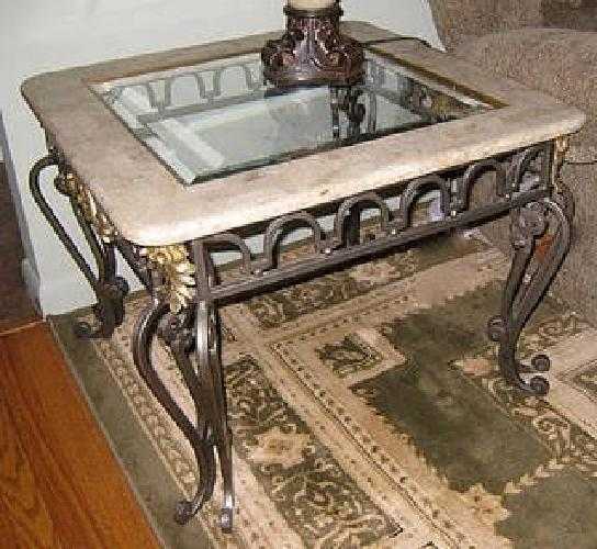 $200 Glass, Marble And Iron Coffee Table And End Table