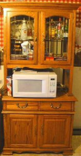 $200 Oak China Cabinet With Leaded Glass Doors, Microwave Included