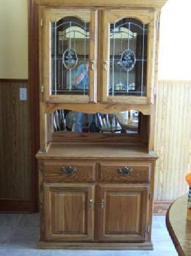 $200 Oak Hutch with Leaded Glass Doors for sale in