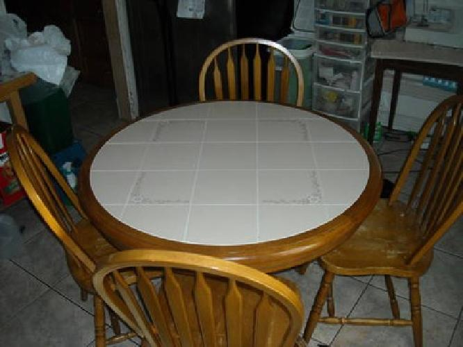 200 Solid Wood Round Table With Tile On Top And Four