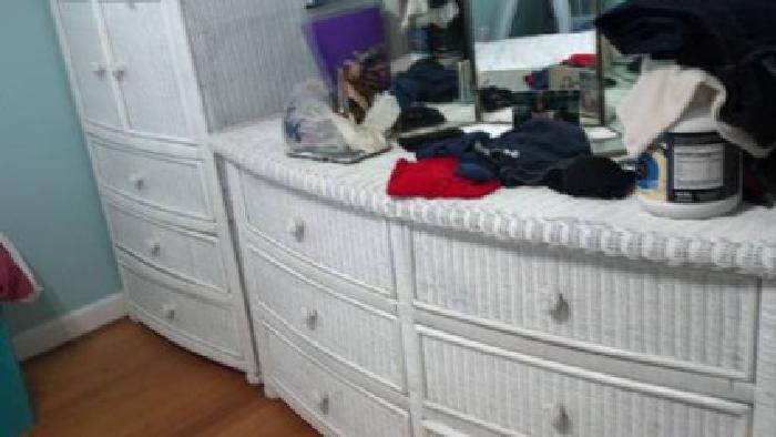 beautiful white wicker bedroom furniture | $200 Three Piece Wicker Bedroom from Pier One for sale in ...