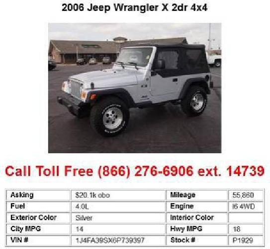 20 100 2006 jeep wrangler x 2dr 4x4 for sale in wichita kansas classified. Black Bedroom Furniture Sets. Home Design Ideas