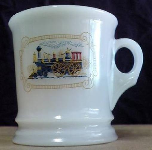 $20 Avon Fire King Train Design Milk Glass Shaving Mug