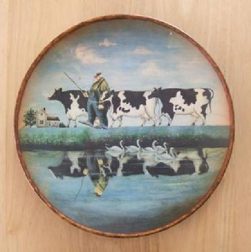$20 Collectible Farmer with Cows Ceramic Plate