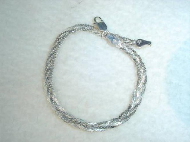 $20 SOLID .925 Sterling SILVER Braided Bracelet Made in ITALY NICE!!