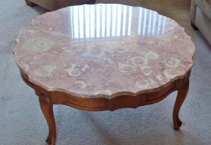 $224 Antique French Provincial Maple Marble Top Coffee Table U0026 End Table