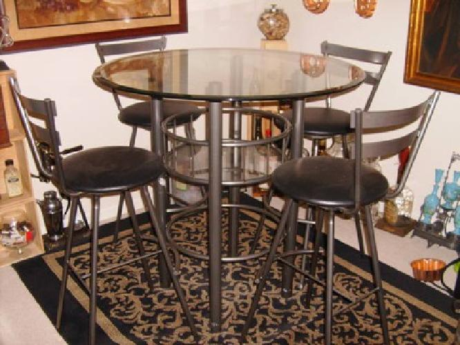 225 modern high top dining room set round glass and