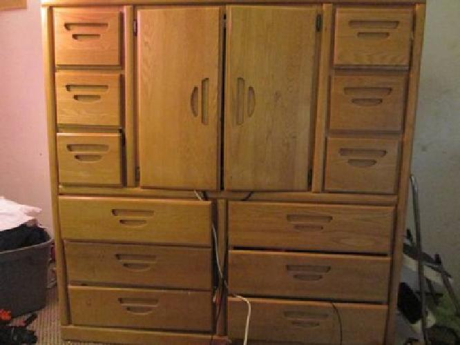 225 solid oak 12 drawer armoire for sale in henderson for Furniture 89014