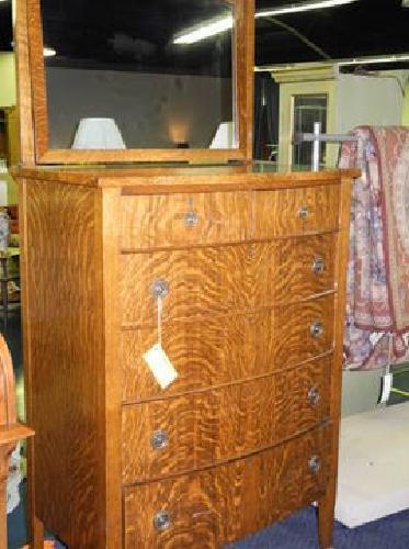237 Beautiful Maple Tiger Wood 6 Drawer Dresser W Mirror