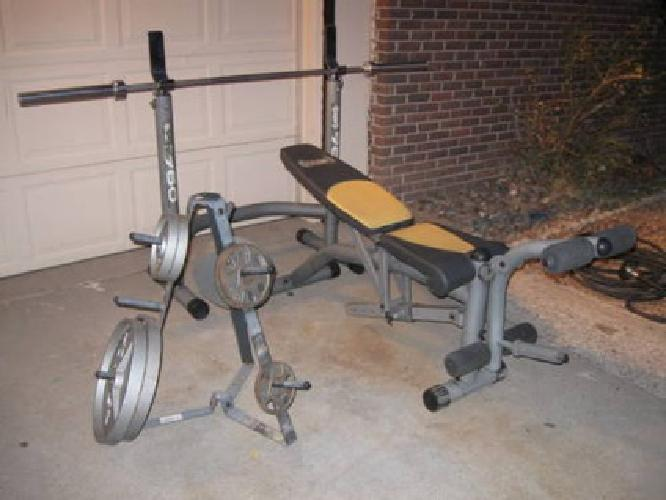 240 Body Champ Olympic Weight Bench Adjustable Uprights W Weights For Sale In El Paso