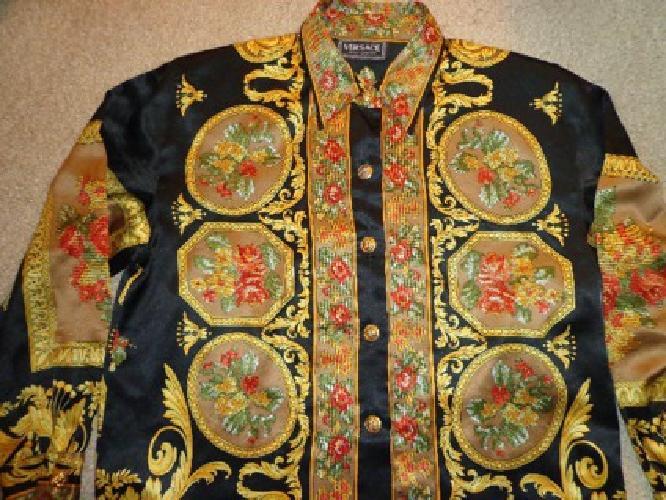 $249 Versace Womens Classic Silk Shirt Blouse