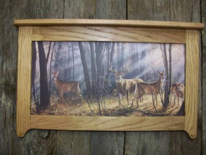 $24 Deer in Woods print Framed in Rustic Oak
