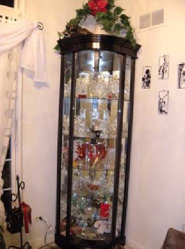 $250 Like New Condition - Black Corner Curio Cabinet w/Lights