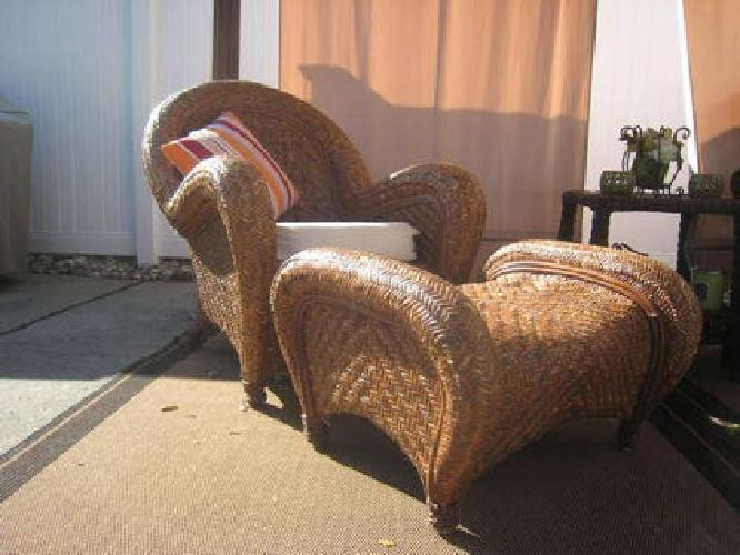 250 Pottery Barn Malabar Lounge Armchair And Ottoman For