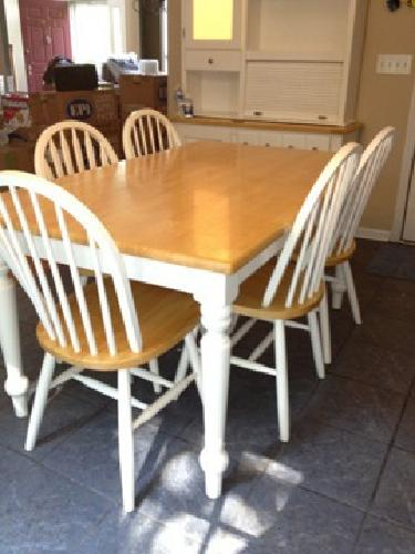 250 White Kitchen Hutch Table 6 Chairs For Sale In