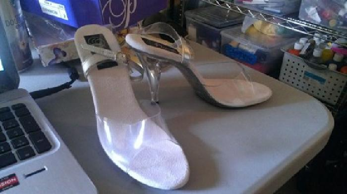 $25 Pleaser Caress 408 Lucite/Silver Heels (Size 9)