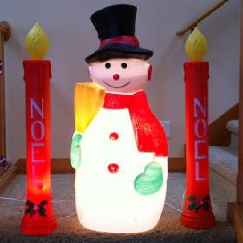 $25 Retro Vintage Blowmold Candles & Snowman Christmas Lights Display Deco