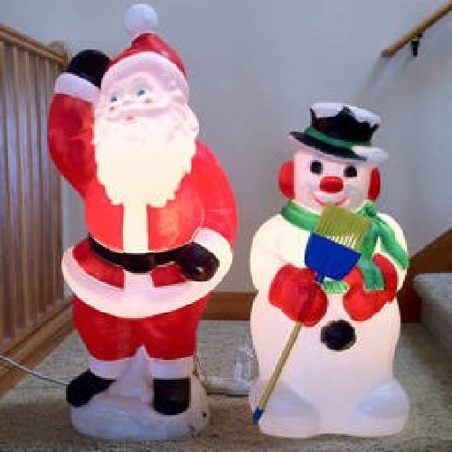 $25 Retro Vintage Blowmold Santa Claus & Snowman Christmas Lights Display