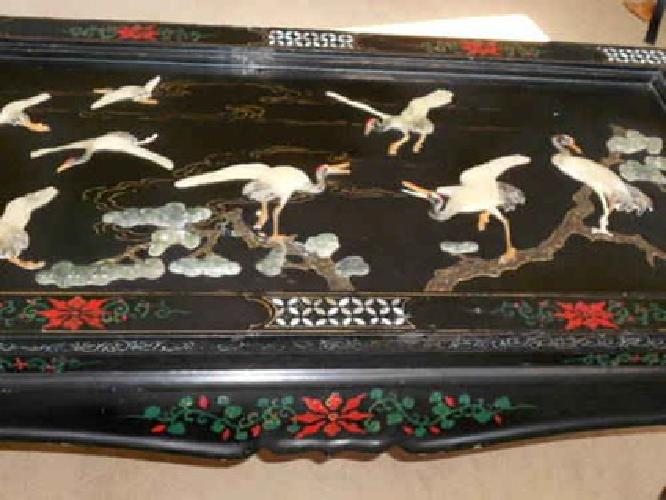 265 Vintage Asian Black Lacquer And Carved Soapstone Coffee Table For Sale In Saint Paul