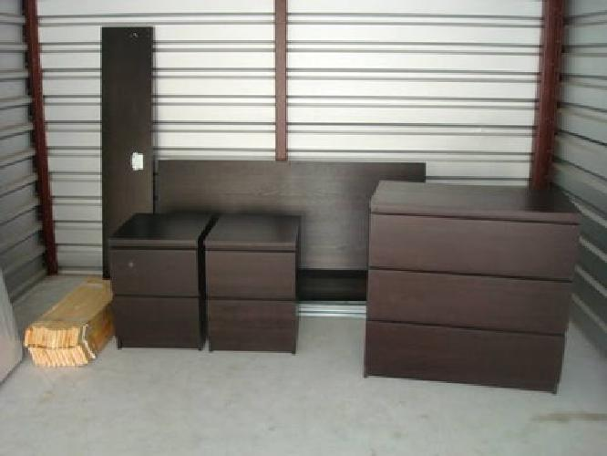 $275 Used Ikea Malm Black Brown Full Size Bed U0026 Accessaries