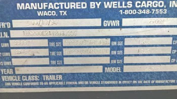 27ft Wells Cargo Heavy Duty Trailer