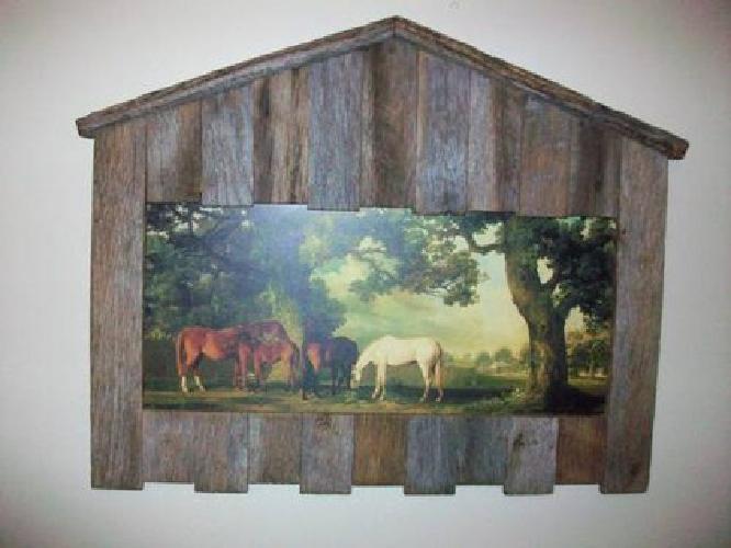 $29 Horses framed in rustic barn wood barn frame