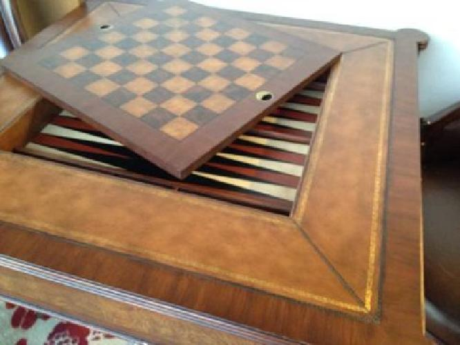 $2,000 Ethan Allen Game Table/4 Drexel Heritage Mahogany/Leather Game Chairs