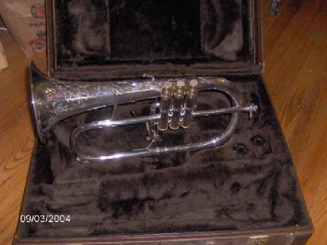 $2,200 BACH STRADIVARIUS FLUGELHORN MODEL 183 Silver and Gold, Engraved