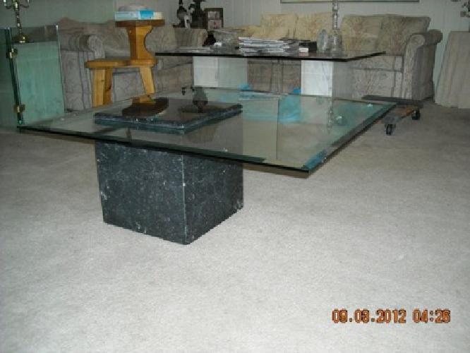 2 575 Obo Italian Marble Amp Beveled Glass Coffee Table
