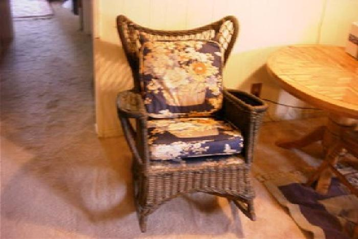 300 Antique Brown Colored Wicker Rocker With Nice