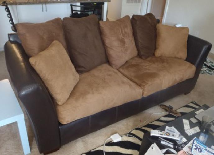 300 Ashley Furniture Leather And Suede Sofa Couch Brown