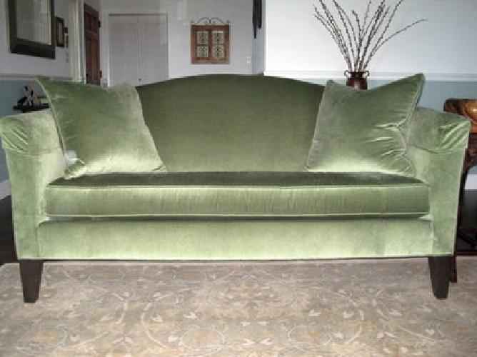 $300 Gorgeous Ethan Allen Sofa, Green Velvet, 14 Mos. Old   (Pacifica