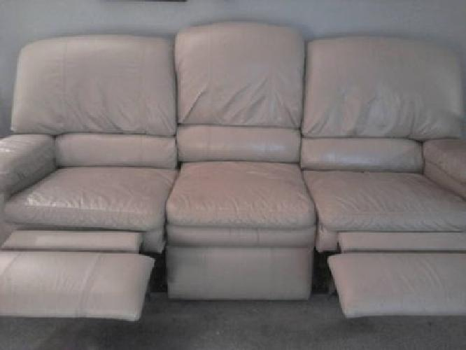 300 Lazyboy Beige Leather Recliner Sofa For Sale In