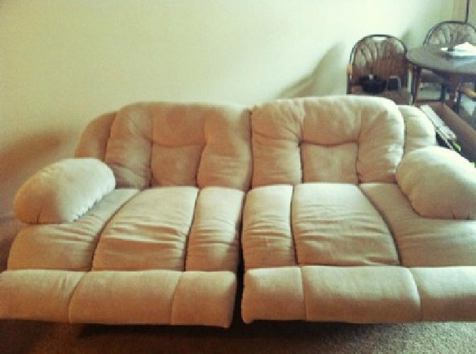 300 Overstuffed Microfiber Dual Reclining Sofa For Sale