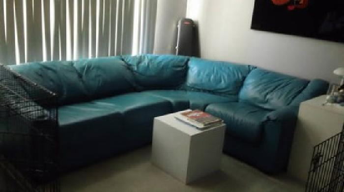 300 Teal Leather Couch Sofa For Sale In Buffalo Grove