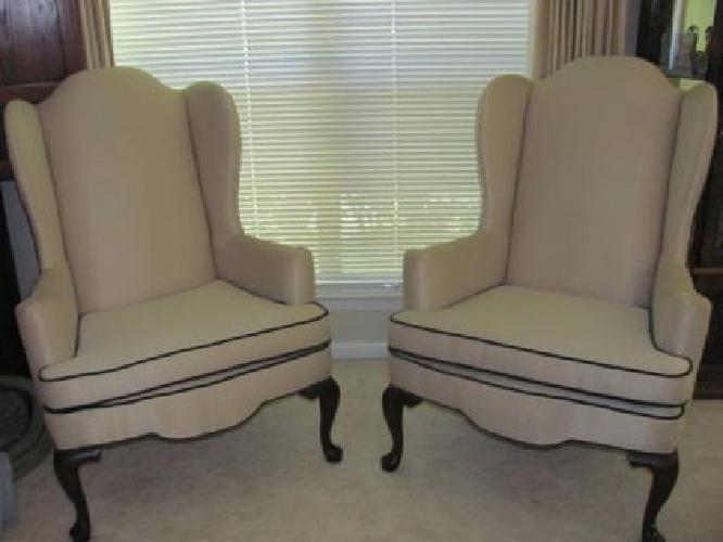 300 Two Ethan Allen Wingback Chairs