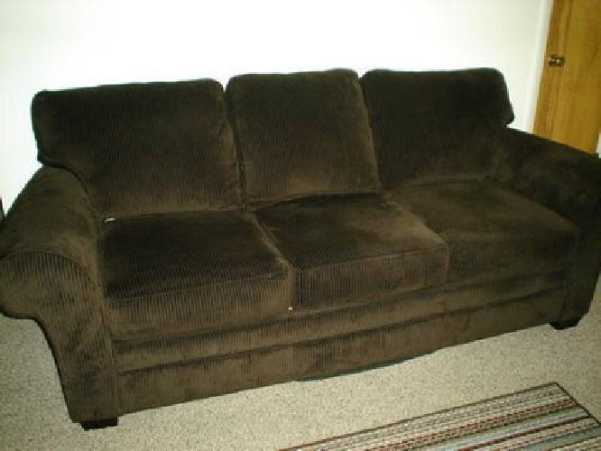 300 Used Dark Chocolate Brown Corduroy Broyhill Sofa For