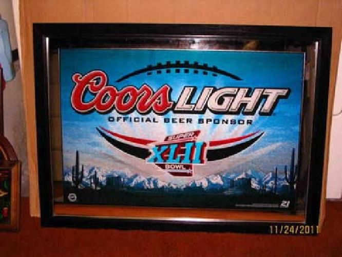 30 Beer Mirror Coors Light Super Bowl Xlii Very Large For