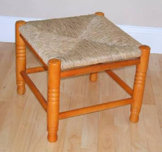 $30 Solid Wood Foot Stool with Woven Straw Top