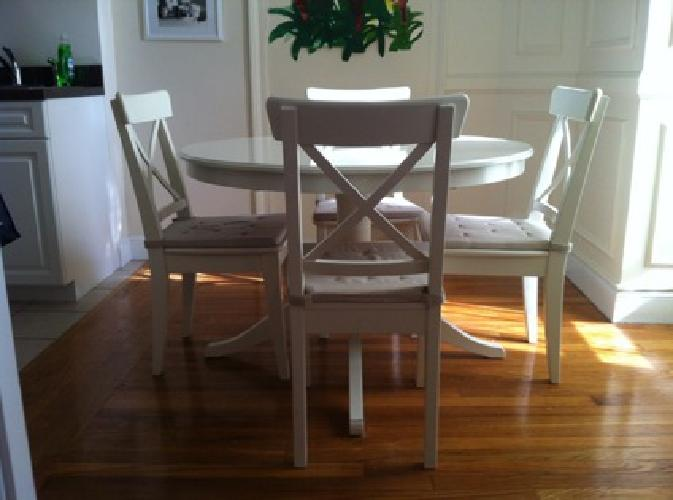 320 ikea liatorp extendable table and four ingolf chairs white for sale in brookline. Black Bedroom Furniture Sets. Home Design Ideas