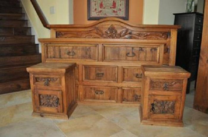 320 king size solid wood rustic bedroom set for sale in