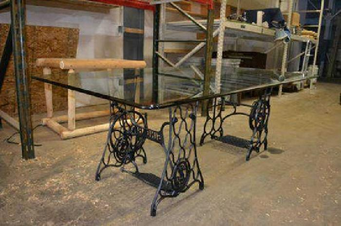 $349 Beautiful 80x46 Glass Table Supported by Antique Sewing Machine Bases