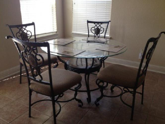 350 Glass Top Kitchen Table With Four Wrought Iron Chairs